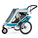 Qeridoo Speedkid 2 (2020) Fahrradanhänger für 2 Kinder, Kinderanhänger - Petrol